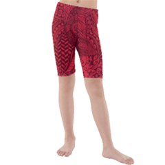Deep Red Background Abstract Kids  Mid Length Swim Shorts