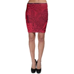 Deep Red Background Abstract Bodycon Skirt