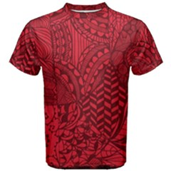 Deep Red Background Abstract Men s Cotton Tee