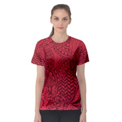 Deep Red Background Abstract Women s Sport Mesh Tee