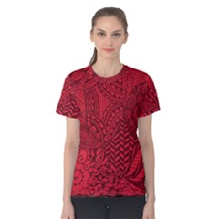 Deep Red Background Abstract Women s Cotton Tee