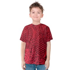 Deep Red Background Abstract Kids  Cotton Tee