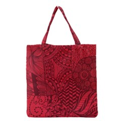 Deep Red Background Abstract Grocery Tote Bag