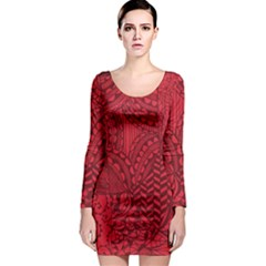 Deep Red Background Abstract Long Sleeve Bodycon Dress