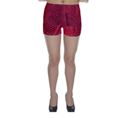 Deep Red Background Abstract Skinny Shorts