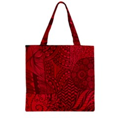 Deep Red Background Abstract Zipper Grocery Tote Bag