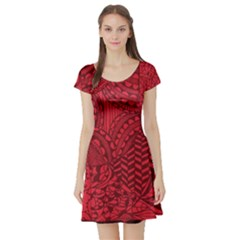 Deep Red Background Abstract Short Sleeve Skater Dress
