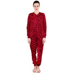 Deep Red Background Abstract Onepiece Jumpsuit (ladies)