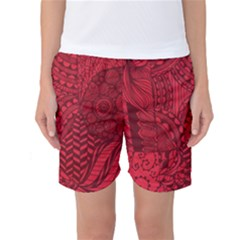 Deep Red Background Abstract Women s Basketball Shorts