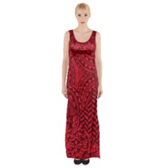 Deep Red Background Abstract Maxi Thigh Split Dress