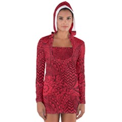 Deep Red Background Abstract Women s Long Sleeve Hooded T Shirt