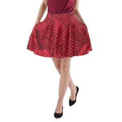 Deep Red Background Abstract A Line Pocket Skirt