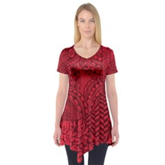 Deep Red Background Abstract Short Sleeve Tunic