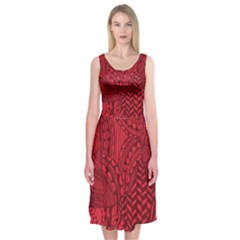 Deep Red Background Abstract Midi Sleeveless Dress
