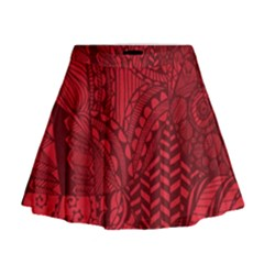 Deep Red Background Abstract Mini Flare Skirt