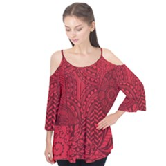 Deep Red Background Abstract Flutter Tees