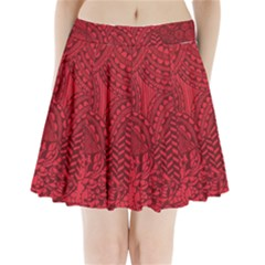 Deep Red Background Abstract Pleated Mini Skirt