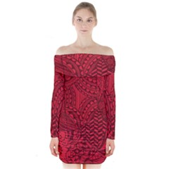 Deep Red Background Abstract Long Sleeve Off Shoulder Dress