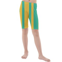 Green And Orange Herringbone Wallpaper Pattern Background Kids  Mid Length Swim Shorts