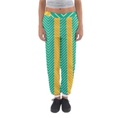 Green And Orange Herringbone Wallpaper Pattern Background Women s Jogger Sweatpants