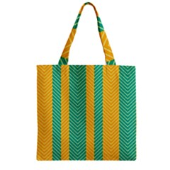 Green And Orange Herringbone Wallpaper Pattern Background Zipper Grocery Tote Bag