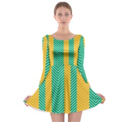 Green And Orange Herringbone Wallpaper Pattern Background Long Sleeve Skater Dress