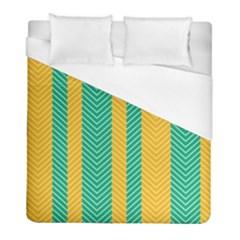 Green And Orange Herringbone Wallpaper Pattern Background Duvet Cover (full/ Double Size)