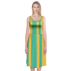 Green And Orange Herringbone Wallpaper Pattern Background Midi Sleeveless Dress