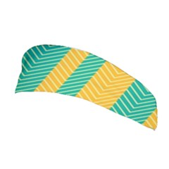 Green And Orange Herringbone Wallpaper Pattern Background Stretchable Headband