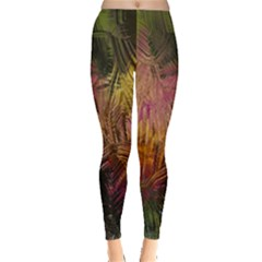 Abstract Brush Strokes In A Floral Pattern  Leggings