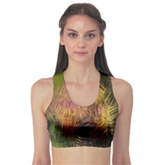 Abstract Brush Strokes In A Floral Pattern  Sports Bra