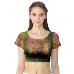 Abstract Brush Strokes In A Floral Pattern  Short Sleeve Crop Top (Tight Fit)
