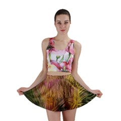 Abstract Brush Strokes In A Floral Pattern  Mini Skirt