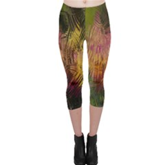 Abstract Brush Strokes In A Floral Pattern  Capri Leggings