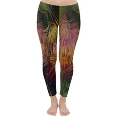 Abstract Brush Strokes In A Floral Pattern  Classic Winter Leggings