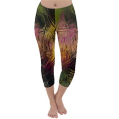 Abstract Brush Strokes In A Floral Pattern  Capri Winter Leggings