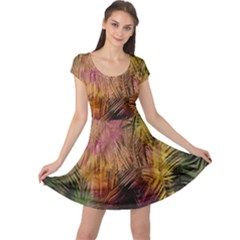 Abstract Brush Strokes In A Floral Pattern  Cap Sleeve Dresses