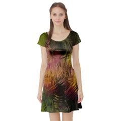 Abstract Brush Strokes In A Floral Pattern  Short Sleeve Skater Dress
