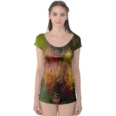 Abstract Brush Strokes In A Floral Pattern  Boyleg Leotard