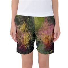 Abstract Brush Strokes In A Floral Pattern  Women s Basketball Shorts