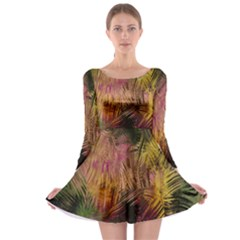 Abstract Brush Strokes In A Floral Pattern  Long Sleeve Skater Dress