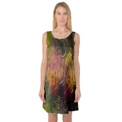 Abstract Brush Strokes In A Floral Pattern  Sleeveless Satin Nightdress