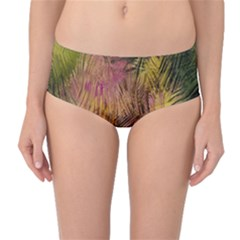 Abstract Brush Strokes In A Floral Pattern  Mid Waist Bikini Bottoms
