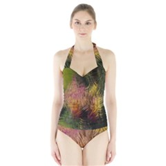 Abstract Brush Strokes In A Floral Pattern  Halter Swimsuit