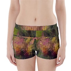 Abstract Brush Strokes In A Floral Pattern  Boyleg Bikini Wrap Bottoms