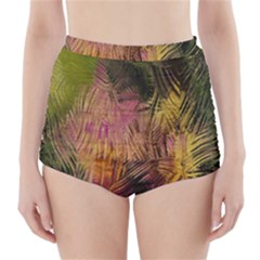 Abstract Brush Strokes In A Floral Pattern  High Waisted Bikini Bottoms