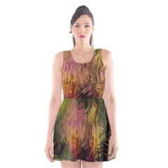 Abstract Brush Strokes In A Floral Pattern  Scoop Neck Skater Dress