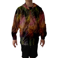 Abstract Brush Strokes In A Floral Pattern  Hooded Wind Breaker (kids)