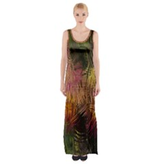 Abstract Brush Strokes In A Floral Pattern  Maxi Thigh Split Dress