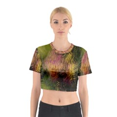 Abstract Brush Strokes In A Floral Pattern  Cotton Crop Top